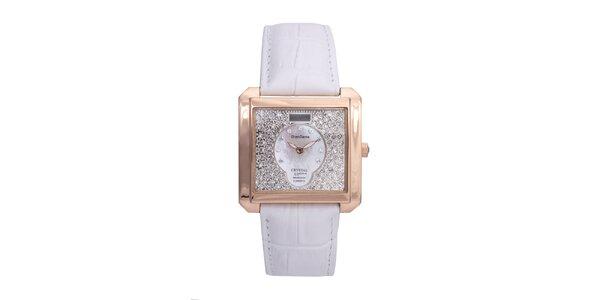 Dámské luxusní pozlacené hodinky s bílým koženým páskem Lancaster