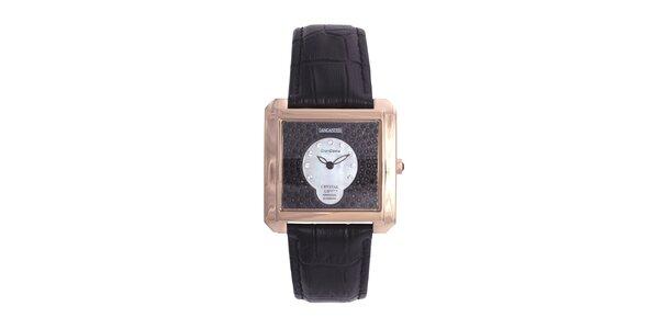 Dámské luxusní pozlacené hodinky s černým koženým páskem Lancaster