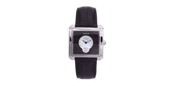 Dámské stříbrné ocelové hodinky s černým koženým páskem Lancaster