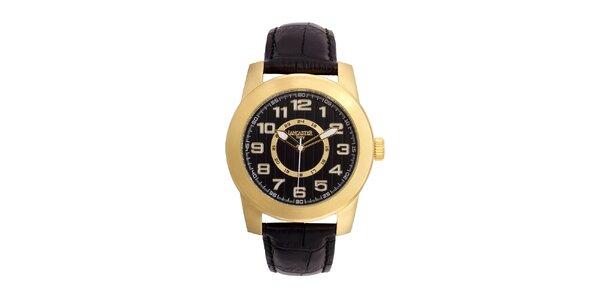 Pánské pozlacené hodinky Lancaster s černým ciferníkem