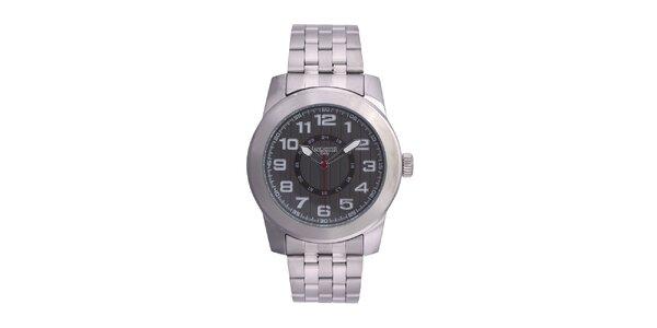 Pánské stříbrné hodinky Lancaster s červenou vteřinovkou