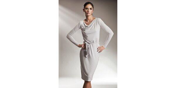 Dámské šedé šaty s dlouhými rukávy Nife