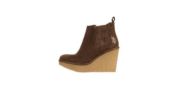Dámské hnědě semišové boty U.S. Polo