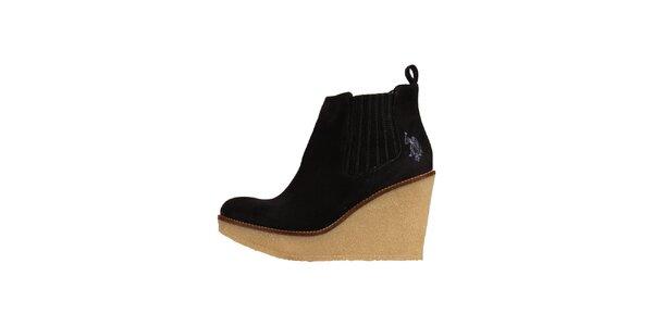Dámské tmavé semišové boty U.S. Polo
