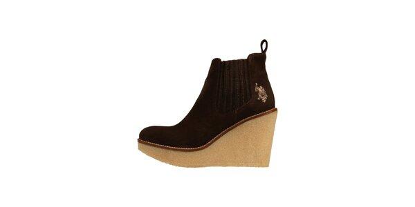 Dámské tmavě hnědé semišové boty U.S. Polo