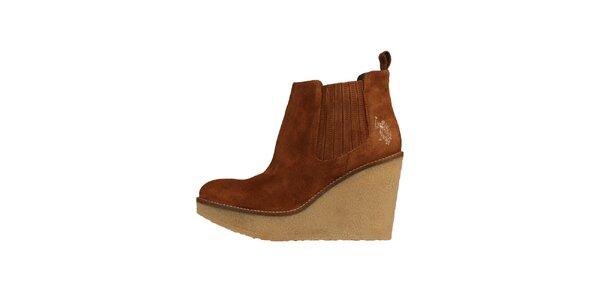 Dámské hnědé semišové boty U.S. Polo