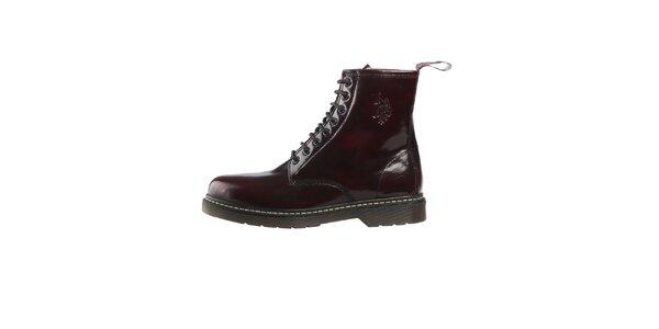 Pánské tmavě červené lakované šněrovací boty U.S. Polo