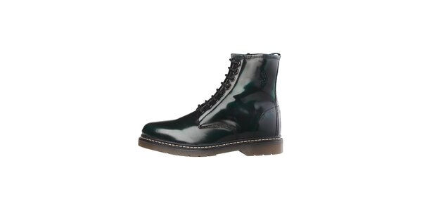 Pánské tmavě zelené lakované šněrovací boty U.S. Polo