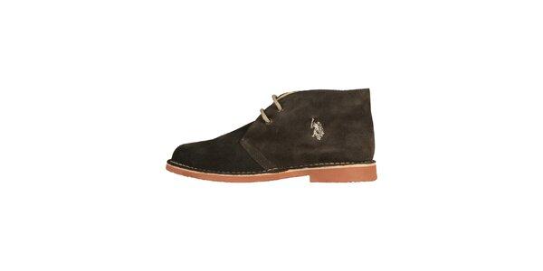 Pánské hnědo-černé kotníčkové semišové boty U.S. Polo