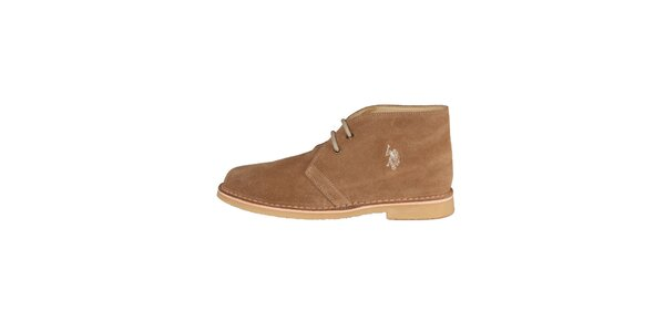 Pánské tmavě béžové kotníčkové semišové boty U.S. Polo