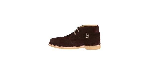 Pánské tmavě hnědé kotníčkové semišové boty U.S. Polo