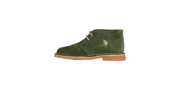 Dámské trávově zelené šněrovací boty U.S. Polo