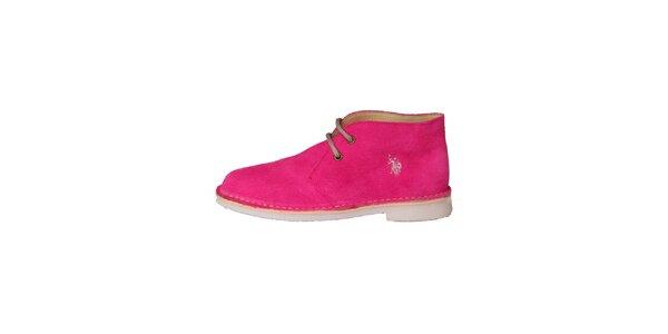 Dámské fuchsiově růžové šněrovací boty U.S. Polo