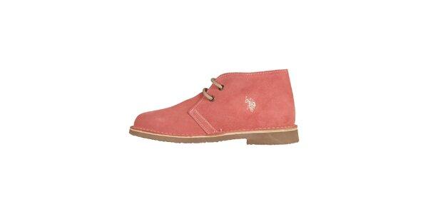 Dámské broskvově růžové šněrovací boty U.S. Polo