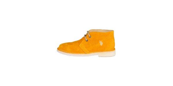 Dámské tmavě žluté šněrovací boty U.S. Polo