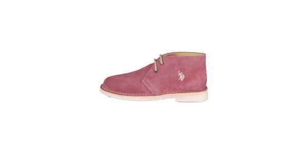 Dámské růžové šněrovací boty U.S. Polo