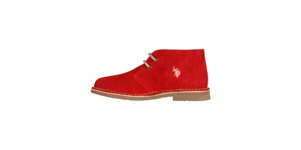 Dámské červené šněrovací boty U.S. Polo