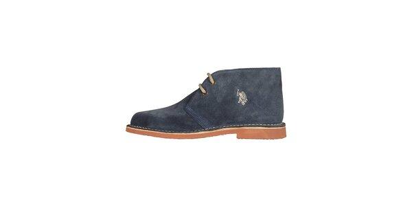 Pánské džínově modré kotníčkové semišové boty U.S. Polo
