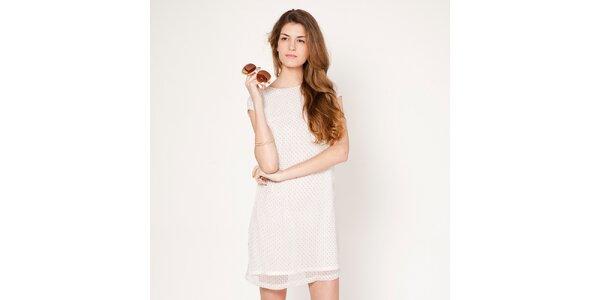 Dámské bílé šaty s jemným puntíkem Tantra