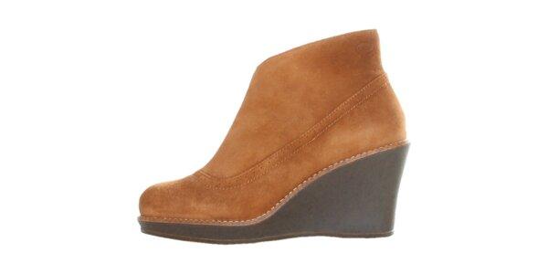 Dámské velbloudí semišové boty Dr. Scholl na vysokém klínu
