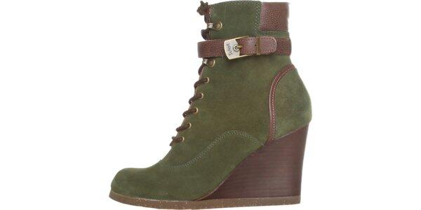 Dámské zeleno-hnědé šněrovací kotníkové boty Dr. Scholl s klínem