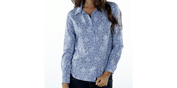 Dámská modrá košile s orientálním potiskem Wanda