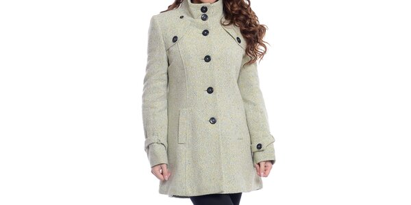 Dámský krémově bílý kabát na knoflíky Oriana