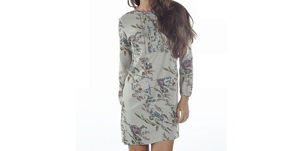 Dámské zelenkavé šaty s květinovým potiskem Wanda