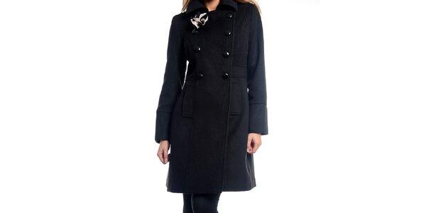 Dámský černý kabátek s květinou Estella f09fb98ac2a