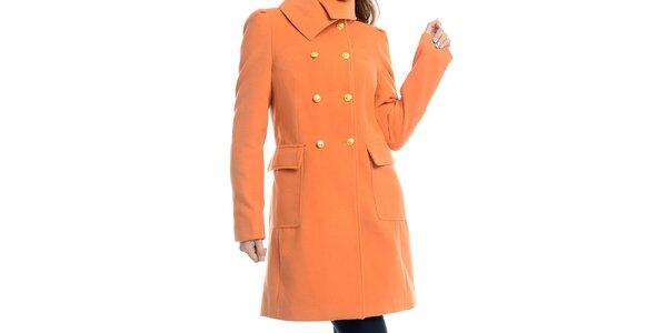 Dámský oranžový kabát se žlutými knoflíky Estella 2d4b9c1081b