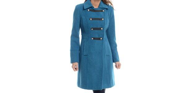 Dámský tyrkysově modrý kabát s vojenským zapínáním Estella