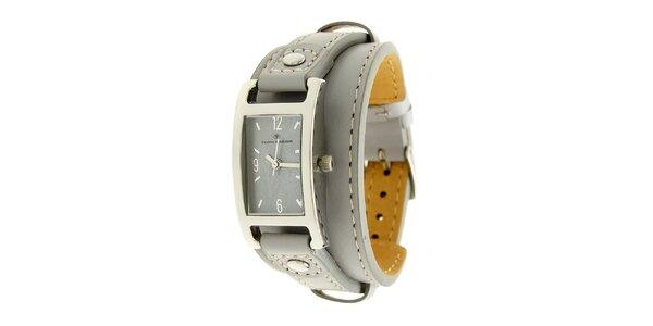 Dámské náramkové hodinky Tom Tailor se světle šedým koženým řemínkem