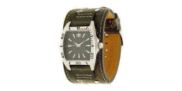 Hnědé náramkové retro hodinky s analogovým ciferníkem Tom Tailor