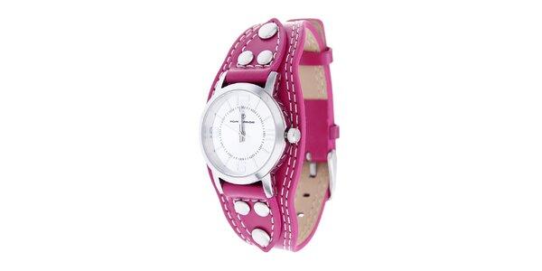 Dámské ocelové hodinky Tom Tailor s růžovým koženým řemínkem