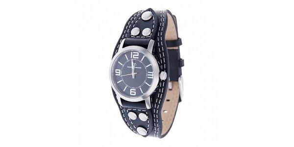 Dámské ocelové hodinky Tom Tailor s černým koženým řemínkem