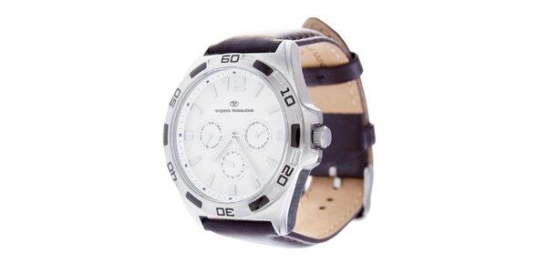 Stylové náramkové hodinky Tom Tailor s tmavě hnědým koženým řemínkem
