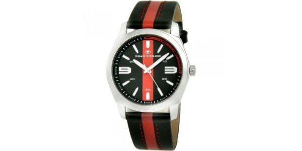 Pánské černo-červené analogové hodinky Tom Tailor