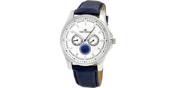 Pánské modro-bílé analogové hodinky Tom Tailor