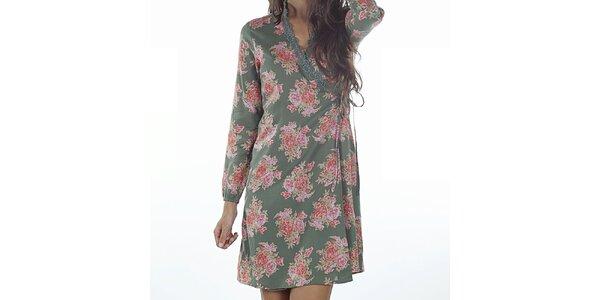 Dámské zelené zavinovací šaty s potiskem Wanda