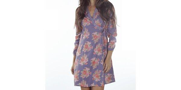 Dámské fialové zavinovací šaty s potiskem Wanda