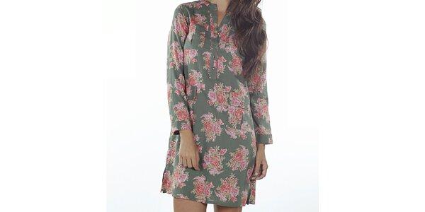 Dámské zelené šaty s květinovým potiskem Wanda