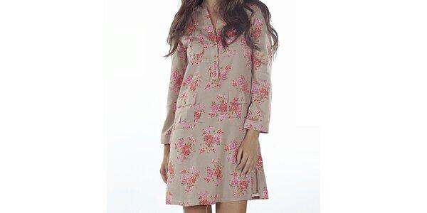 Dámské béžové šaty s květinovým potiskem Wanda