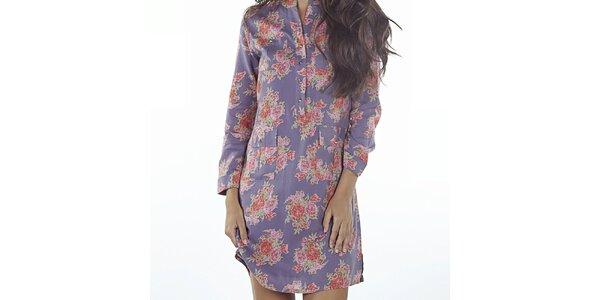 Dámské fialové šaty s květinovým potiskem Wanda