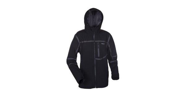 Pánská černá softshellová bunda Envy s šedými proužky