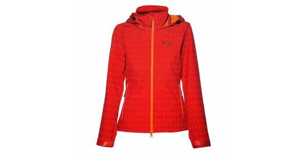 Dámská sytě červená softshellová bunda Envy s veselým potiskem