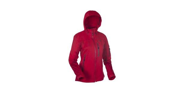 Dámská červená softshellová bunda s výraznými zipy