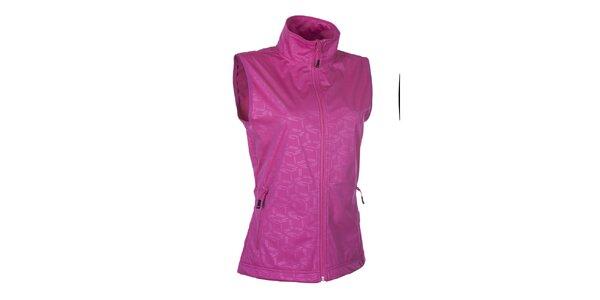 Dámská softshellová růžová vesta se vzorem Envy