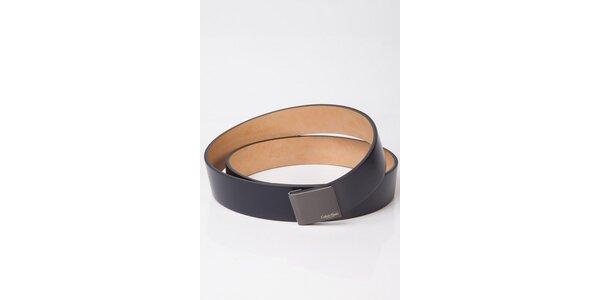 Pánský tmavě modrý kožený pásek Calvin Klein