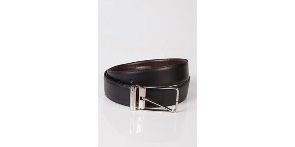 Dámský černo-hnědý oboustranný kožený pásek Calvin Klein