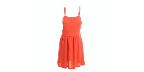 Dámské korálové šaty s knoflíčky 2two